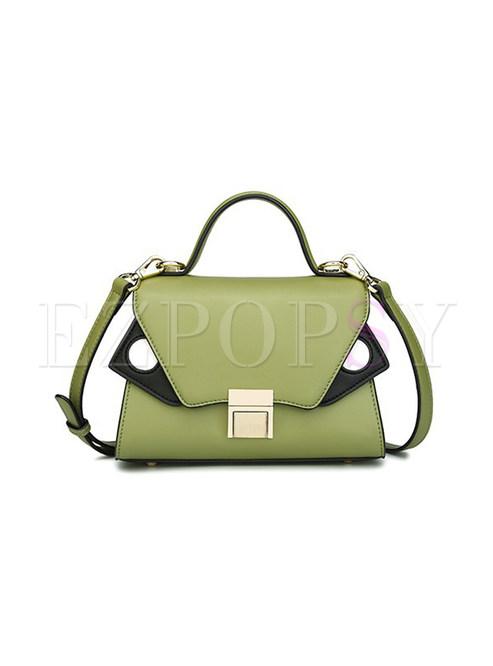 Fashion Lock Color-blocked PU Crossbody Bag