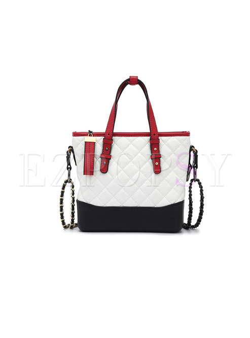 Stylish Chain Zippered Top Handle & Crossbody Bag