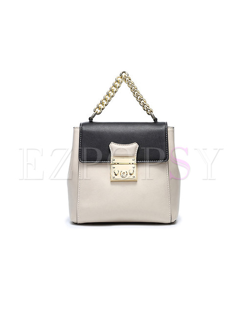 Fashion Color-blocked Lock Chain Backpack