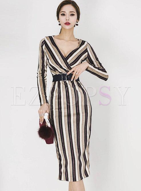Elegant Autumn Deep V-neck Striped Midi Dress