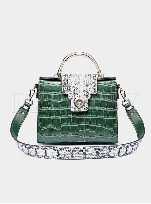 Stylish Crocodile Pattern Crossbody Bag With Metal