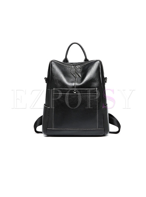 Black Leather Casual Travel Backpack