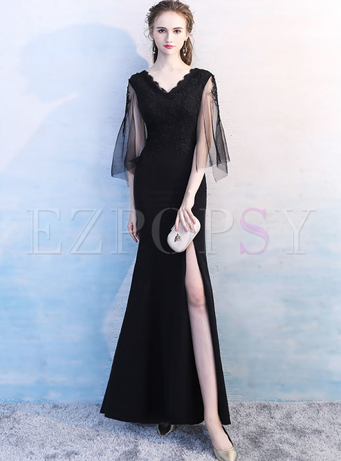 Dresses Prom Dresses Elegant Black V Neck Slit Prom Dress
