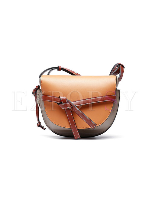 Stylish Color-blocked Bowknot Leather Crossbody Bag