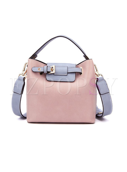 Casual Monochrome PU Open-top Top Handle Bag