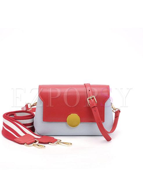 Color-blocked Wide Shoulder Strap Leather Crossbody Bag