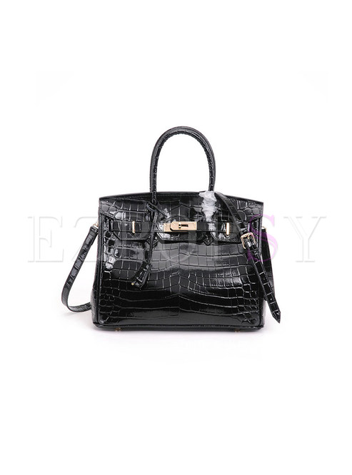 Leather Crocodile Pattern Bridal Handbag