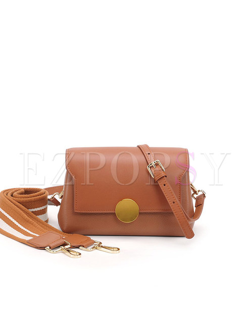 Color-blocked Wide Shoulder Strap Leather Crossbody Bag