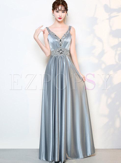 Prom Dresses.   Grey Deep V-neck Beaded ... 8e7bf9646