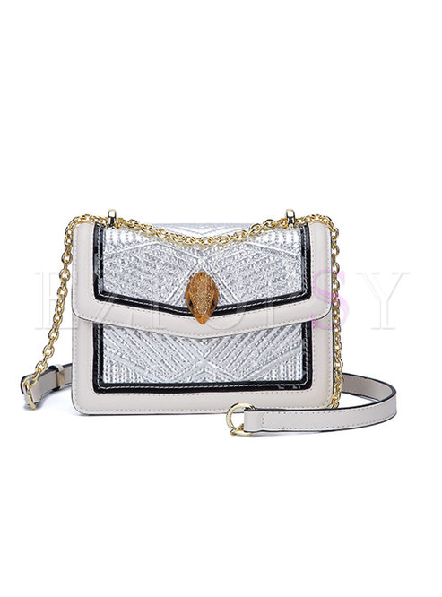 Brief Light-Gold Magnetic Lock Chain Crossbody Bag