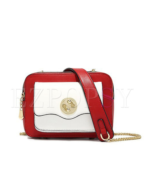 Chic Clasp Lock Chain Tote & Crossbody Bag