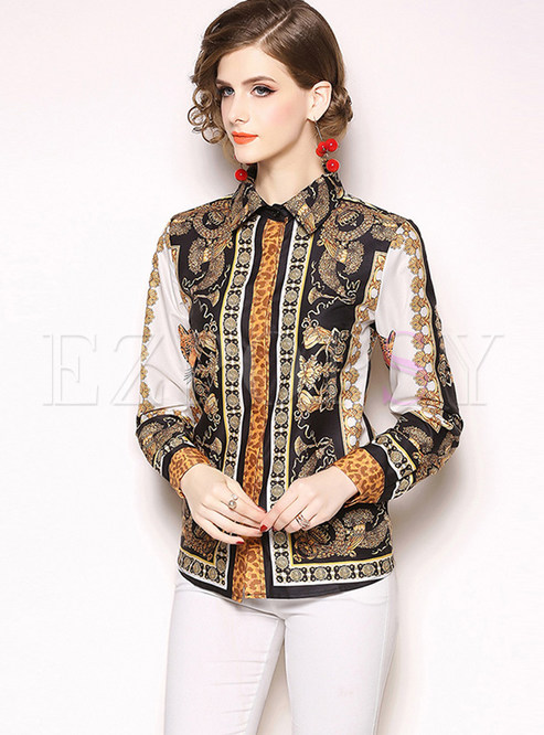 Lapel Long Sleeve Single-breasted Print Blouse