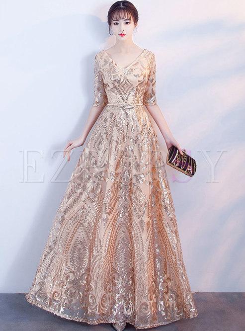 Elegant Gold Prom Dresses