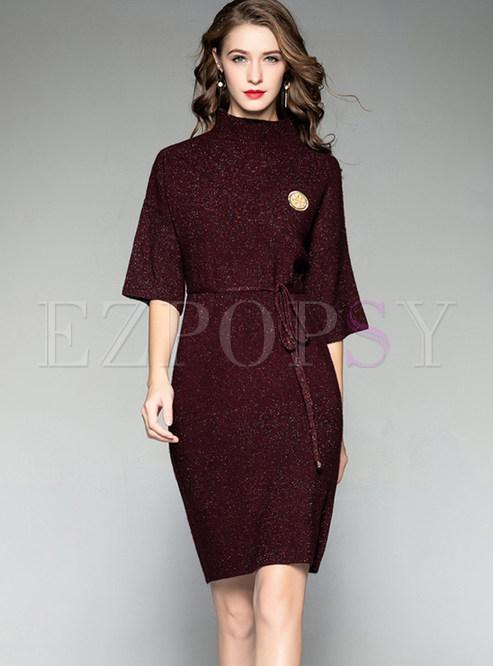 dresses knitted dresses turtle neck half sleeve waist mini a