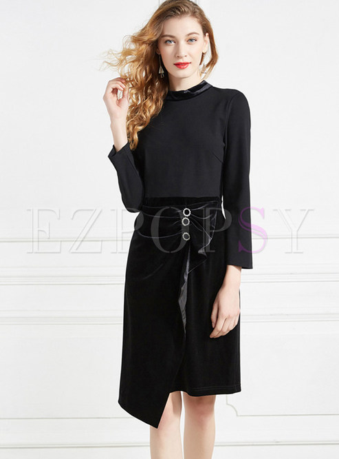 Solid Color O-neck Stitching Asymmetric Dress