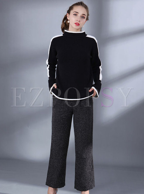 Flare Sleeve Bowknot Sweater & Straight Pants