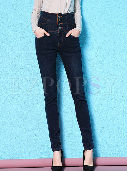 Stylish High Waist Plus Velvet Slim Pencil Pants