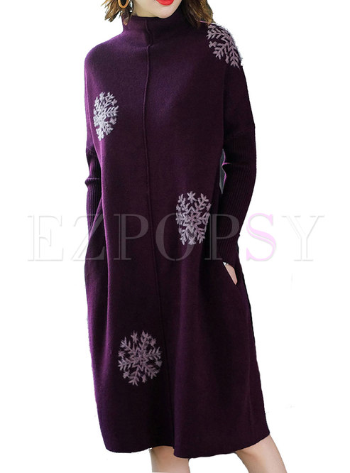 Elegant Purple Stand Collar Stitching Loose Knitted Dress