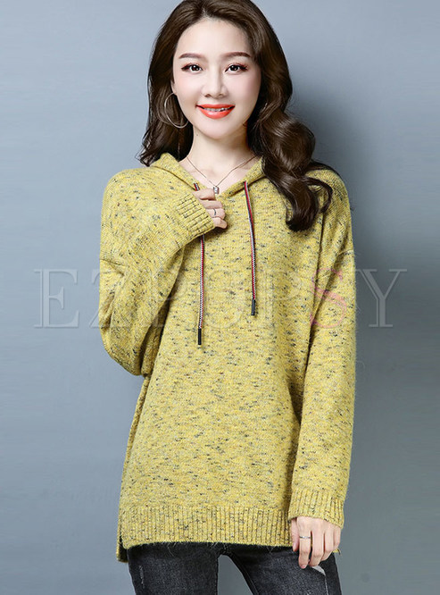 Loose Hooded Long Sleeve Pullover Knitted Sweatshirt