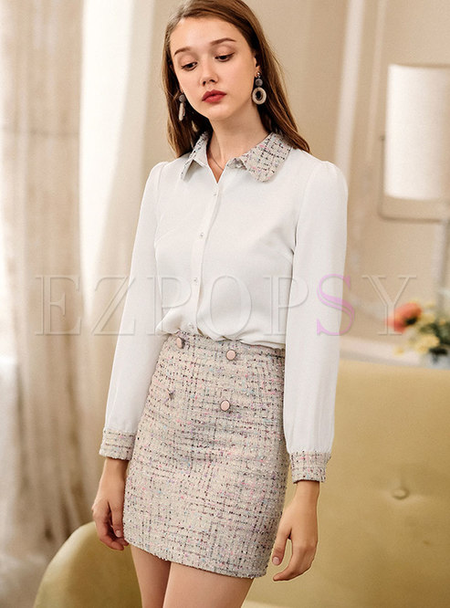 Winter Turn-down Collar Single-breasted White Blouse