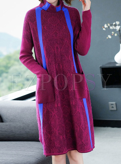 a45bc4a6ecb9 Knitted Dresses.   Purple High Neck Striped Loose ...