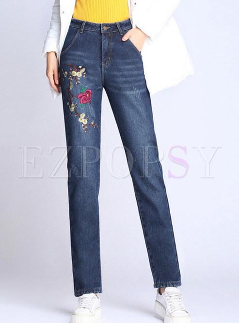 Embroidered Thermal Plus Velvet Denim Pants