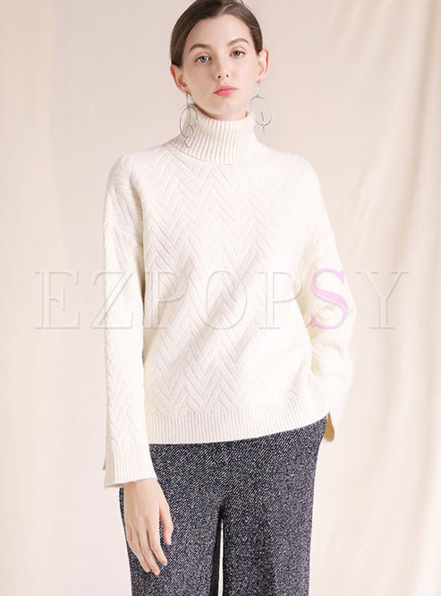 Autumn White Turtle Neck Texture Loose Sweater