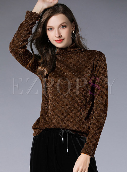 Casual Coffee Turtle Neck Mesh Thicken Long Sleeve Top