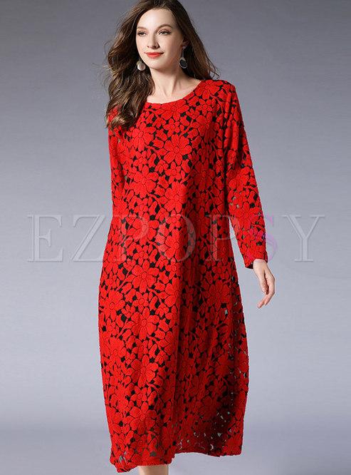 Stylish Lace-paneled O-neck Long Sleeve Loose Dress