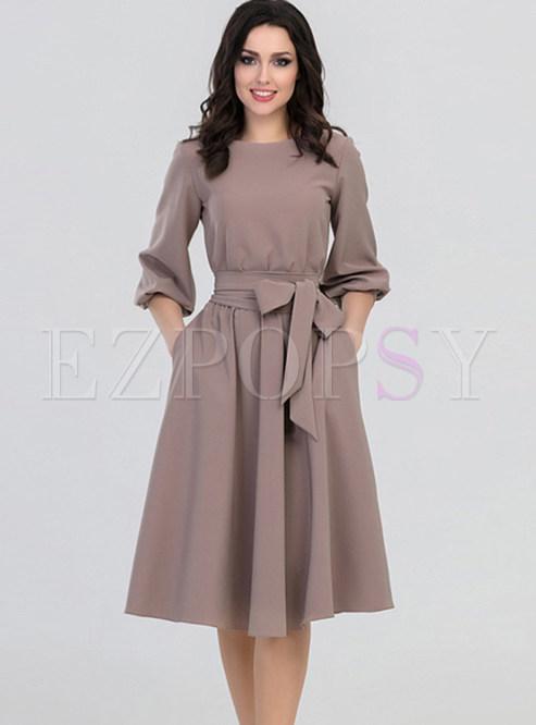 Elegant Hepburn Style Autumn Tie Bowknot Skater Dress