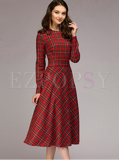 O-neck Long Sleeve Plaid Waist Mid-claf Dress