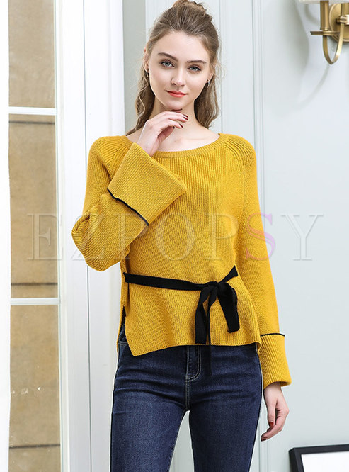 Chic Color-blocked Flare Sleeve Tied-waist Asymmetric Slim Sweater