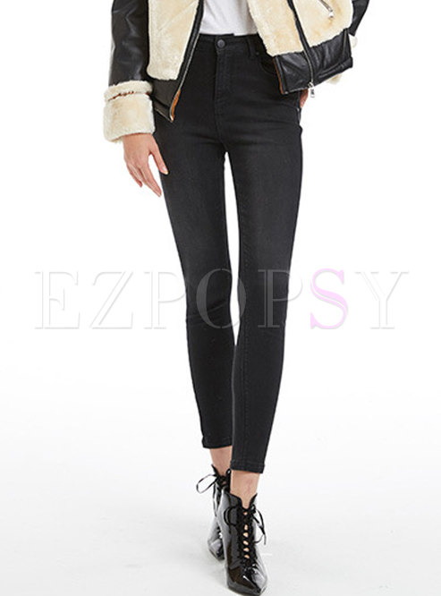 Autumn Black High Waist Denim Slim Pencil Pants