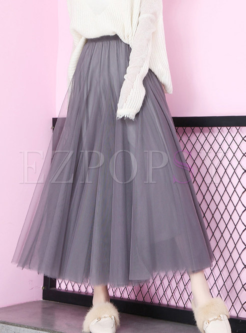 Fashion Mesh Elastic High Waist Big Hem Skirt