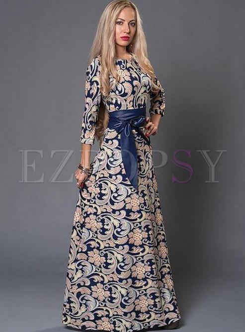 Style O-neck Print Tie-waist Big Hem Dress