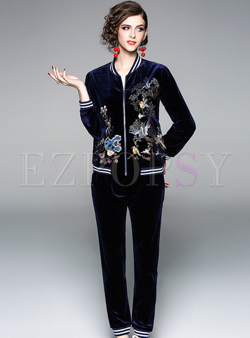 Casual Velvet Embroidered Stand Collar Short Coat & Harem Pants