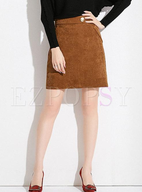 Fashion Brown Solid High Waist A Line Skirt