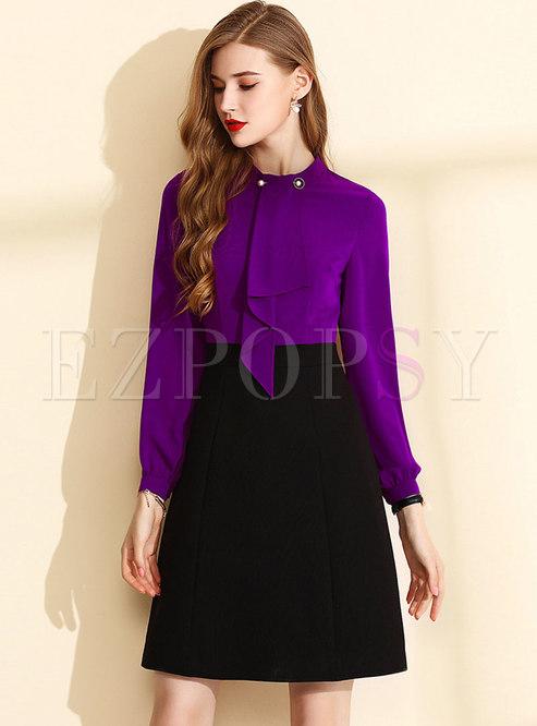 Trendy Splicing Stand Collar Waist A Line Dress