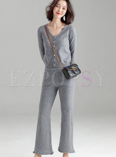 Fashion Solid Color V-neck Top & Knitted High Waist Pants