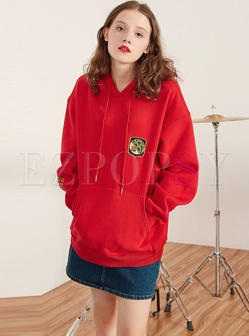 Stylish Red Letter Print Hooded Thick Sweatshirt