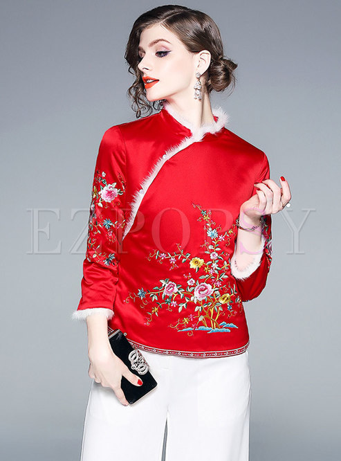 Vintage Mandarin Collar Embroidered Slim Thick Coat