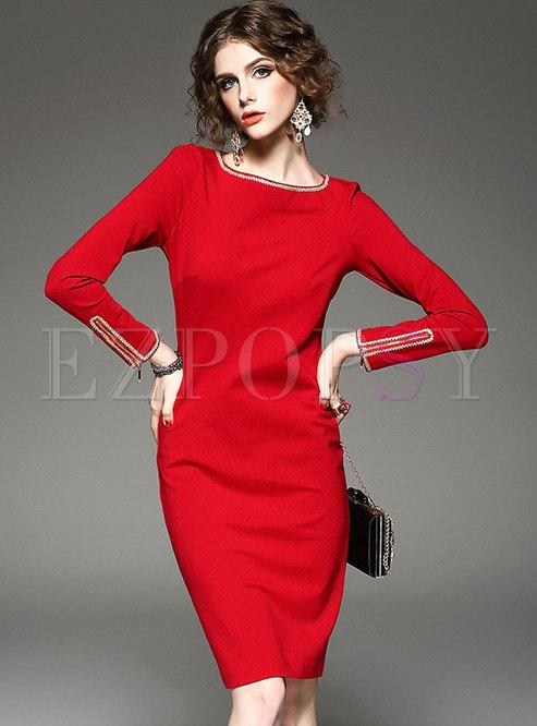 Brief Red O-neck Slim Bodycon Dress