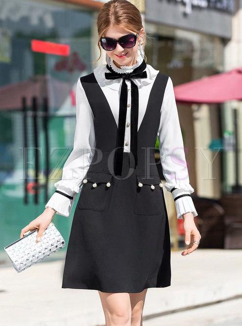 Chic Splicing Ruffled Collar Bowknot Beaded Skater Dress