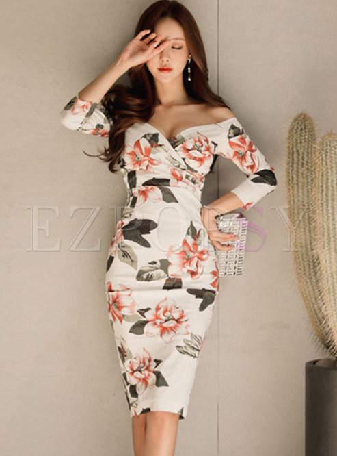 Off Shoulder Long Sleeve Print Bodycon Dress