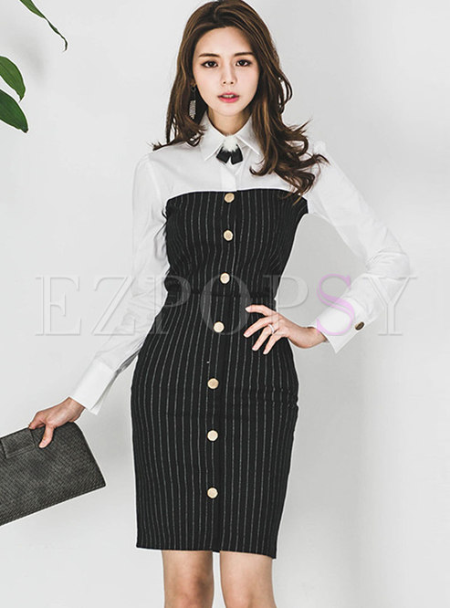 Stylish Autumn Turn-down Collar Blouse & Wrap Sheath Skirt