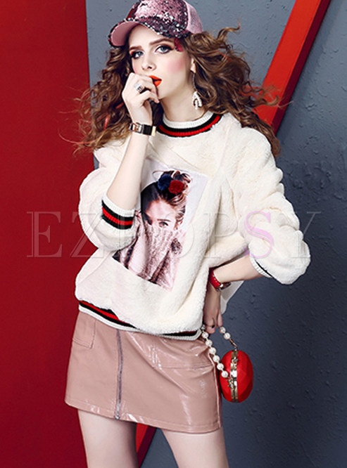 Sweet Color-blocked Pullover Thermal Sweatshirt