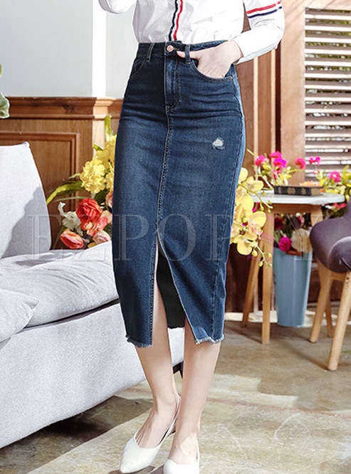Casual Solid Color Zippered Slit Denim Skirt