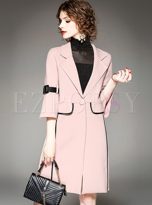 Elegant Color-blocked Notched Flare Sleeve Slim Coat