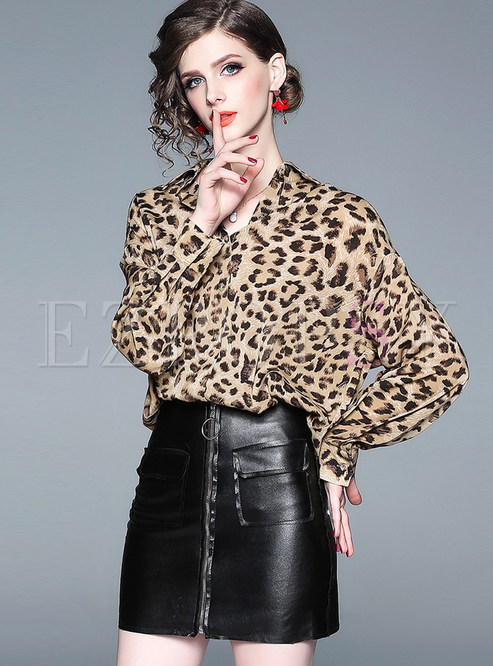 Style Loose Leopard Lapel Single-breasted Blouse