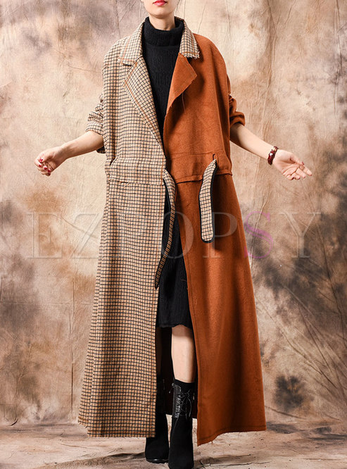 Chic Grid Splicing Notched Tied-waist Long Coat